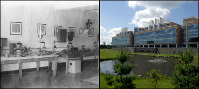 Yesterday and Today:  Our first crime lab, shown here in the early 1930s, was located in a single room. Today's FBI Laboratory is housed in a state-of-the-art building in Quantico, Virginia.