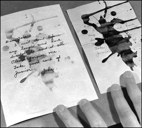 An infrared photograph reveals the contents of a suicide note