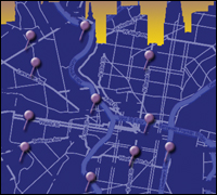 Map and skyline of Philadelphia