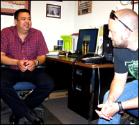 FBI Special Agent Doug Klein, right, talks about a case with Special Agent Mike Cuny of the Bureau of Indian Affairs on the Crow reservation in Montana.