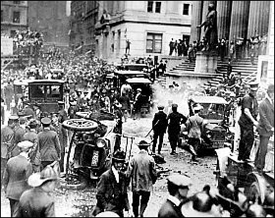 Debris after September 16, 1920 bombing on Wall Street. World-Telegram photo.
