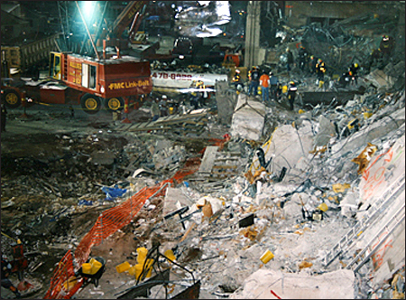 Invesigators going through the rubble following the bombing of the World Trade Center.