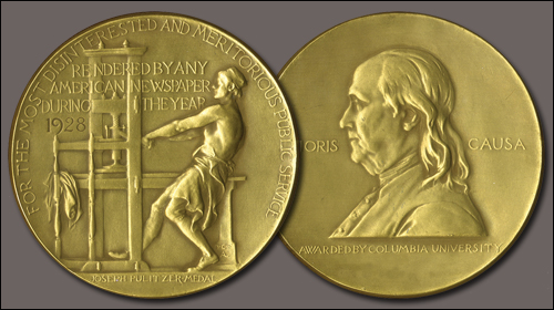 A Pulitzer Prize medal awarded in 1928. Courtesy of Columbia University.