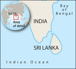 Map of Sri Lanka and India with Area of Detail