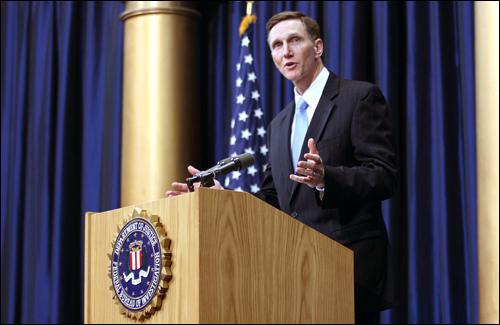 FBI Deputy Director John S. Pistole addresses the crowd at centennial celebration
