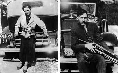 Bonnie and Clyde: Each Sitting on a Car