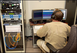 Audio technician working on voice identification