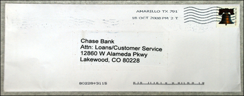 A photograph of the envelope that was used with the letter above