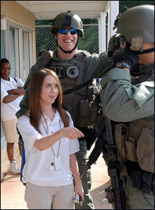 A student talks with our Washington Field Office SWAT team