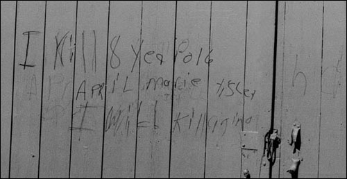 In 1990, two years after April Tinsley's murder, this message appeared on a barn door near where her body was recovered.