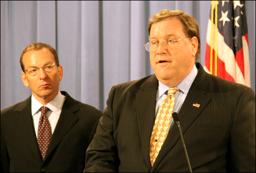FBI Executive Assistant Director Thomas J. Harrington of our Criminal, Cyber, Response, and Services Branch (right) and Assistant Attorney General Lanny A. Breuer of the Department of Justice's Criminal Division.