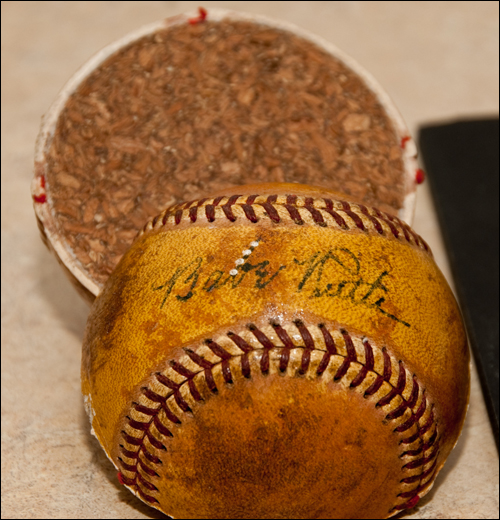 Babe Ruth's signature looks authentic, but examiners found that the ball's cork center design was too modern to be used during Ruth's era.
