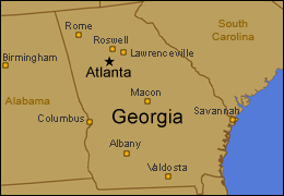 Map of Georgia with Atlanta and Other Cities Indicated