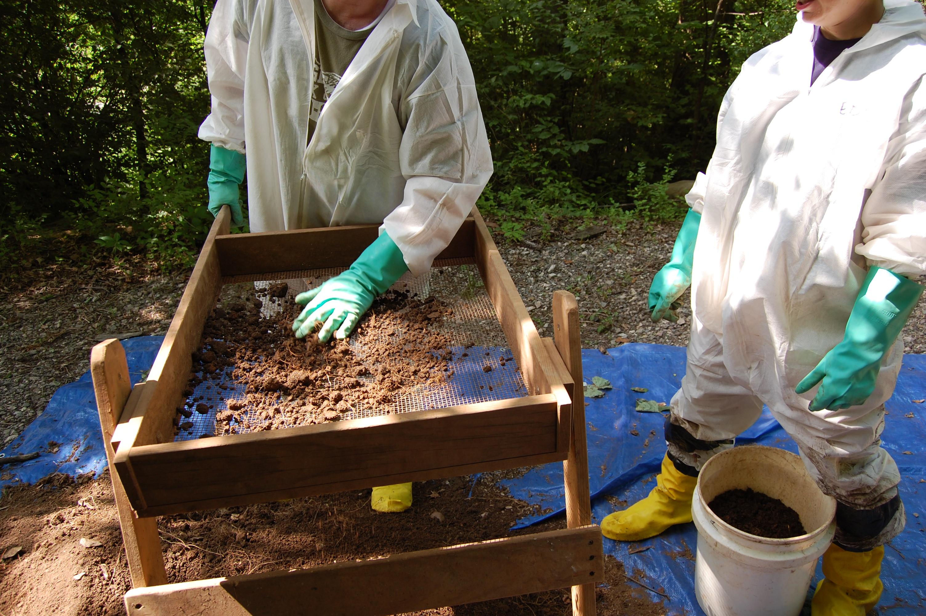 Sifting soil