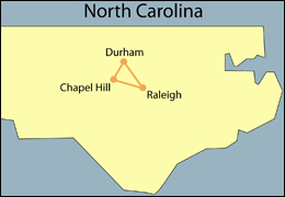 Map of North Carolina Showing Durham, Raleigh, and Chapel Hill