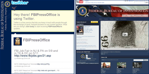 FBI Twitter page                                                           FBI YouTube page