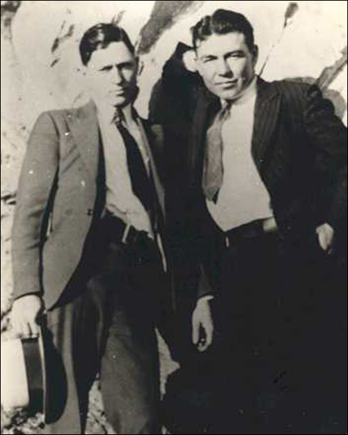 Clyde Barrow (left) with William D. Jones, one of the Barrow gang