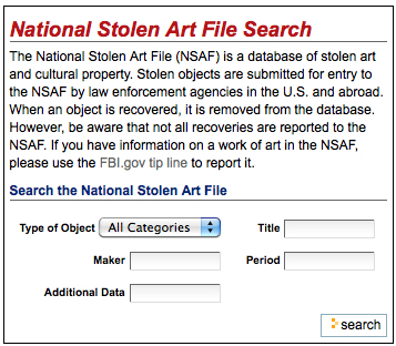 National Stolen Art File search