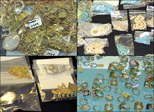 Collage of stolen jewels, gold