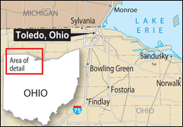 Map showing Toledo, Ohio