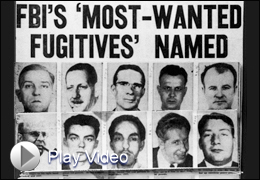 FBI's Most Wanted Fugitives Named Newspaper Clip with Video Play Button
