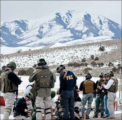 Agents training in mountains