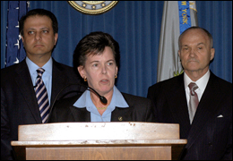 New York Assistant Director in Charge Janice K. Fedarcyk at podium, with U.S. Attorney Preet Bharara, Southern District of New York, and New York Police Commissioner Ray Kelly